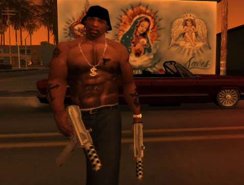 Gangsta with guns and tats.