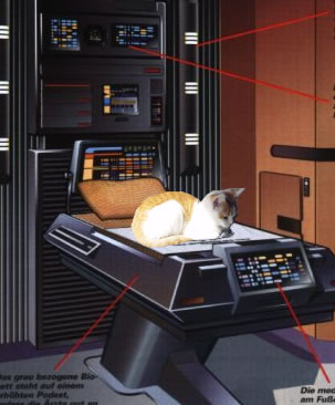 My cat superimposed into Star Trek's sickbay.