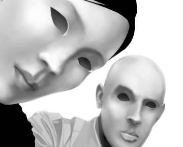 Two eye-less figures stare back at the viewer. Black and white. (c) Celia Calle