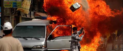 Van exploding in Iraq city.