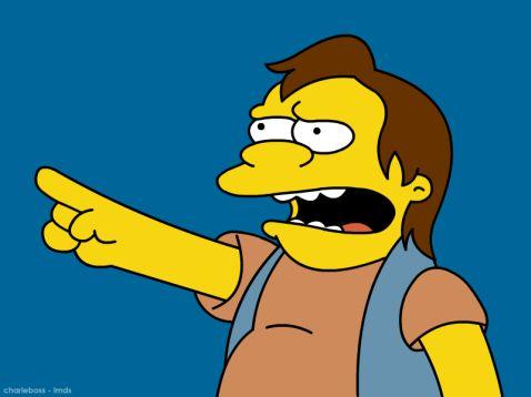 Nelson Muntz saying Ha Ha.