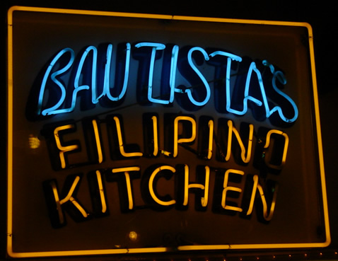 Neon sign: Bautista's Filipino Kitchen.